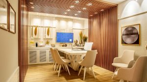 Beautifully lit dining room with table and chairs, energy efficient lighting.